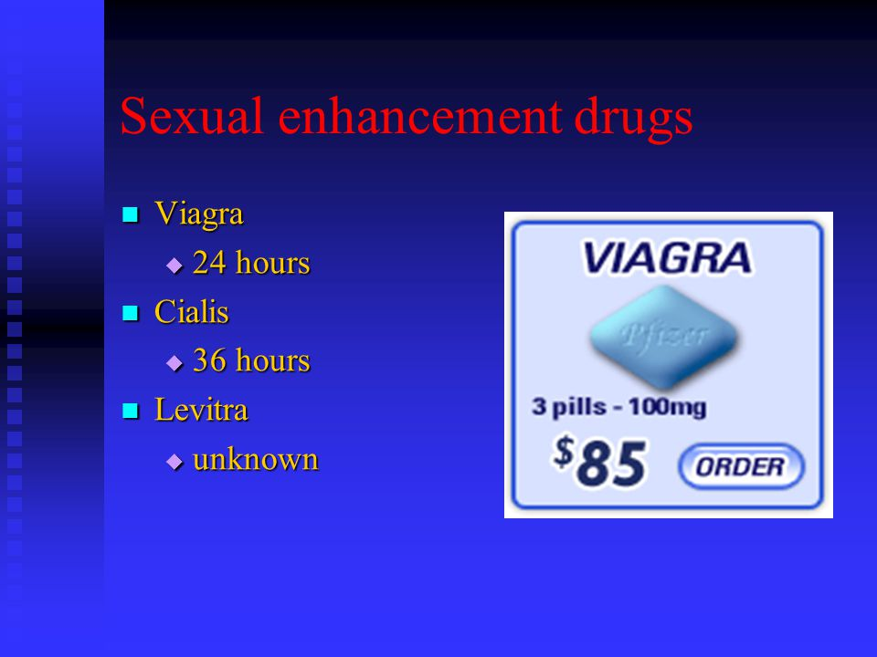 Sexual enhancement drugs Viagra Viagra  24 hours Cialis Cialis  36 hours Levitra Levitra  unknown