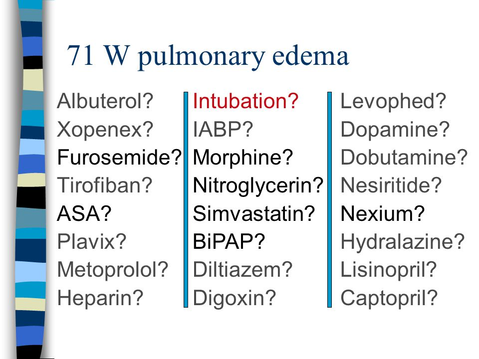 71 W pulmonary edema Intubation. IABP. Morphine.