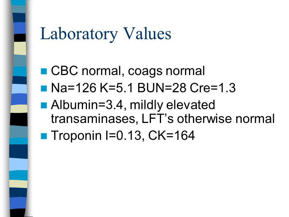 Laboratory Values CBC normal, coags normal Na=126 K=5.1 BUN=28 Cre=1.3 Albumin=3.4, mildly elevated transaminases, LFT's otherwise normal Troponin I=0.13, CK=164