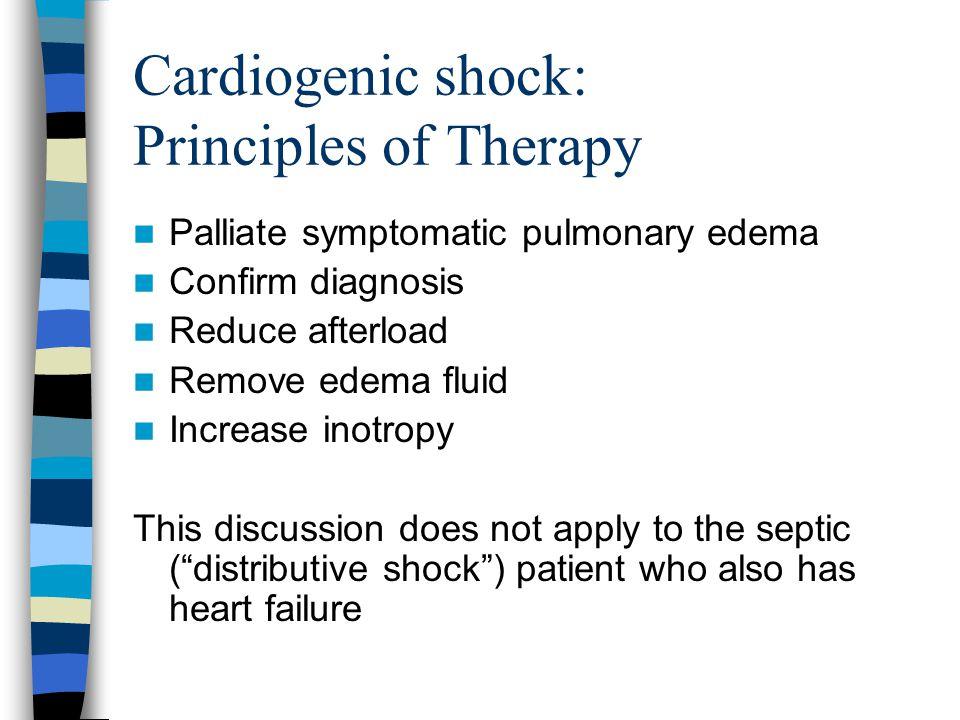 Cardiogenic shock: Principles of Therapy Palliate symptomatic pulmonary edema Confirm diagnosis Reduce afterload Remove edema fluid Increase inotropy