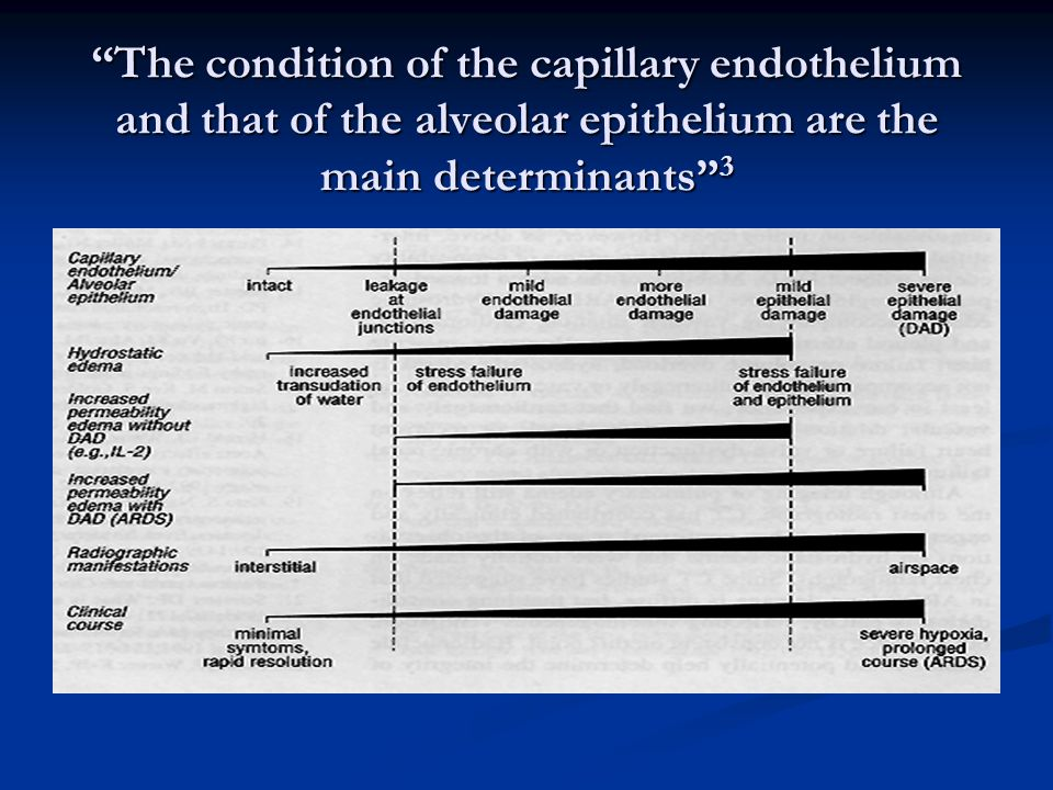 The condition of the capillary endothelium and that of the alveolar epithelium are the main determinants 3