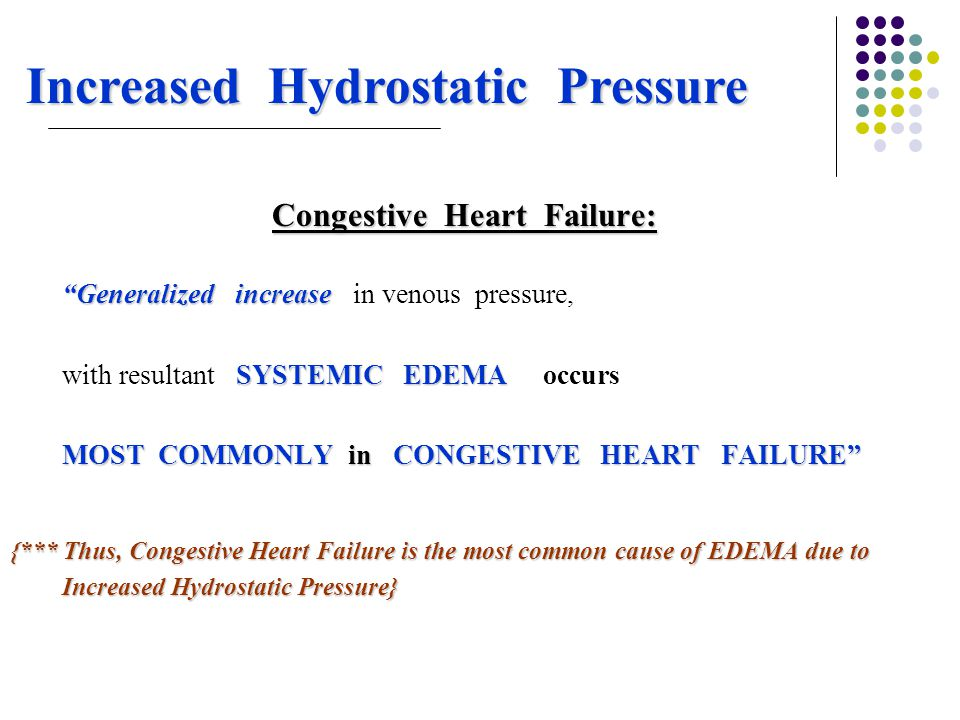 "Increased Hydrostatic Pressure Congestive Heart Failure: ""Generalized increase ""Generalized increase in venous pressure, SYSTEMIC EDEMA with resultant"