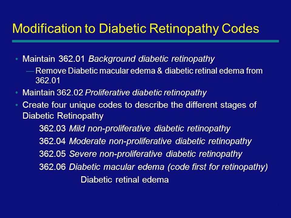 8 Maintain 362.01 Background diabetic retinopathy —Remove Diabetic macular edema & diabetic retinal edema from 362.01 Maintain 362.02 Proliferative diabetic retinopathy Create four unique codes to describe the different stages of Diabetic Retinopathy 362.03 Mild non-proliferative diabetic retinopathy 362.04 Moderate non-proliferative diabetic retinopathy 362.05 Severe non-proliferative diabetic retinopathy 362.06 Diabetic macular edema (code first for retinopathy) Diabetic retinal edema Modification to Diabetic Retinopathy Codes