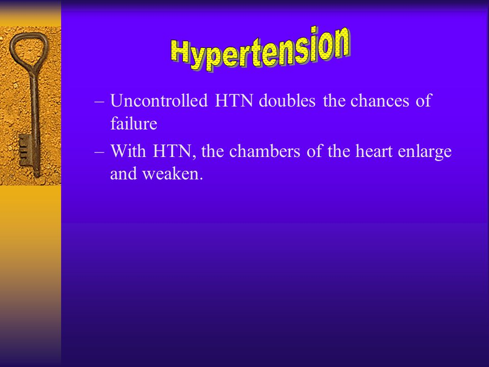 –Uncontrolled HTN doubles the chances of failure –With HTN, the chambers of the heart enlarge and weaken.