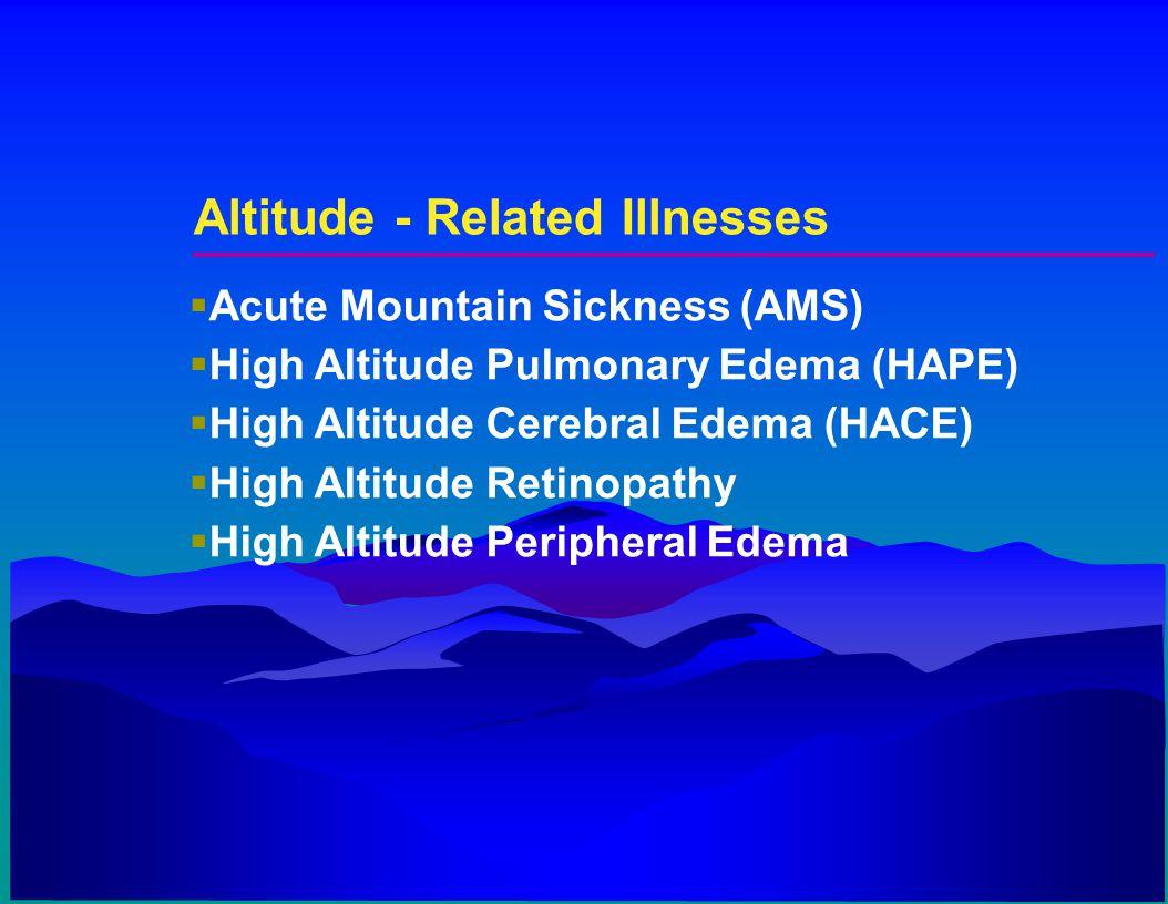 Altitude - Related Illnesses  Acute Mountain Sickness (AMS)  High Altitude Pulmonary Edema (HAPE)  High Altitude Cerebral Edema (HACE)  High Altit