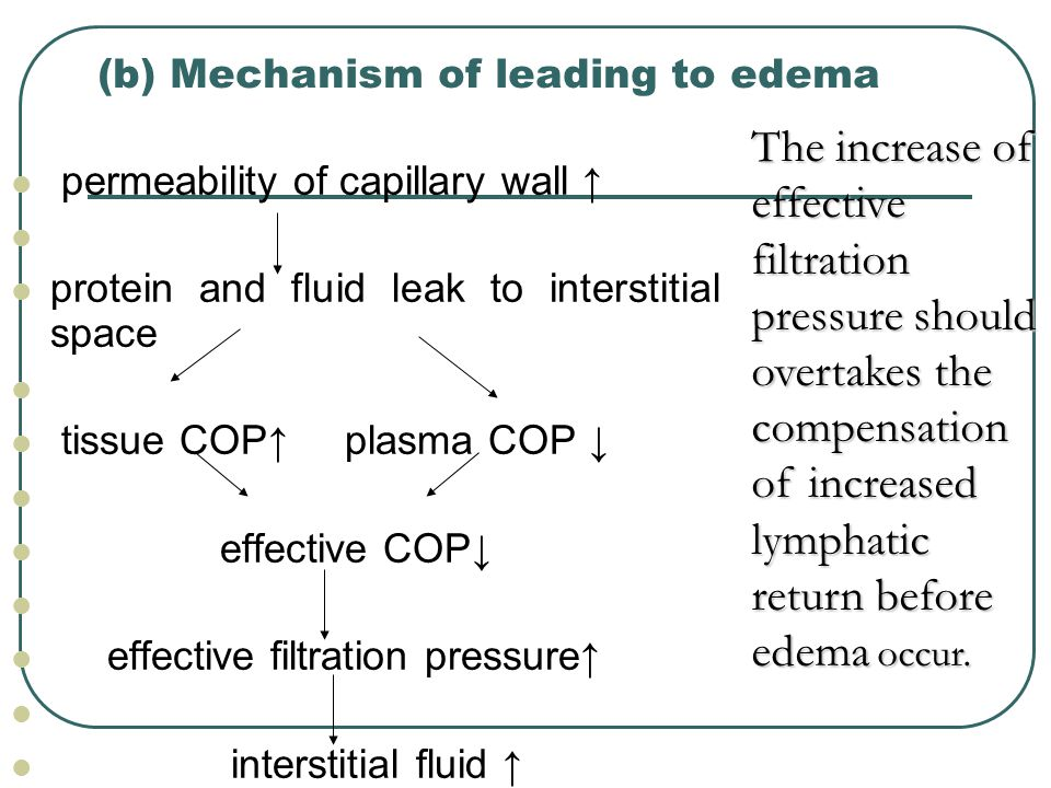 (b) Mechanism of leading to edema permeability of capillary wall ↑ protein and fluid leak to interstitial space tissue COP↑ plasma COP ↓ effective COP