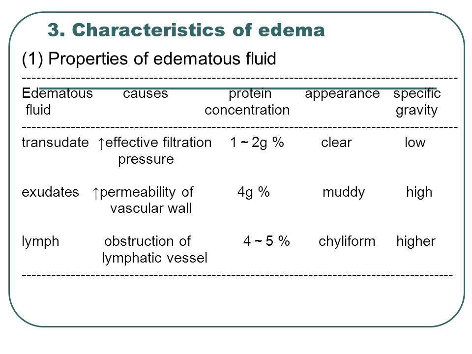 3. Characteristics of edema (1) Properties of edematous fluid ----------------------------------------------------------------------------------------