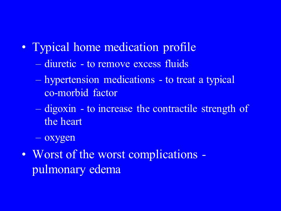 Typical home medication profile –diuretic - to remove excess fluids –hypertension medications - to treat a typical co-morbid factor –digoxin - to incr