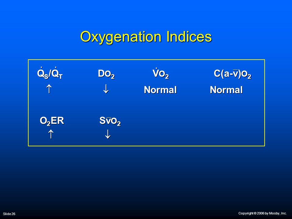 Copyright © 2006 by Mosby, Inc. Slide 26 Oxygenation Indices Q S /Q T D O 2 V O 2 C(a-v) O 2   Normal Normal O 2 ER Sv O 2   Q S /Q T D O 2 V O 2