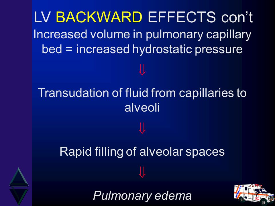 Increased volume in pulmonary capillary bed = increased hydrostatic pressure  Transudation of fluid from capillaries to alveoli  Rapid filling of al