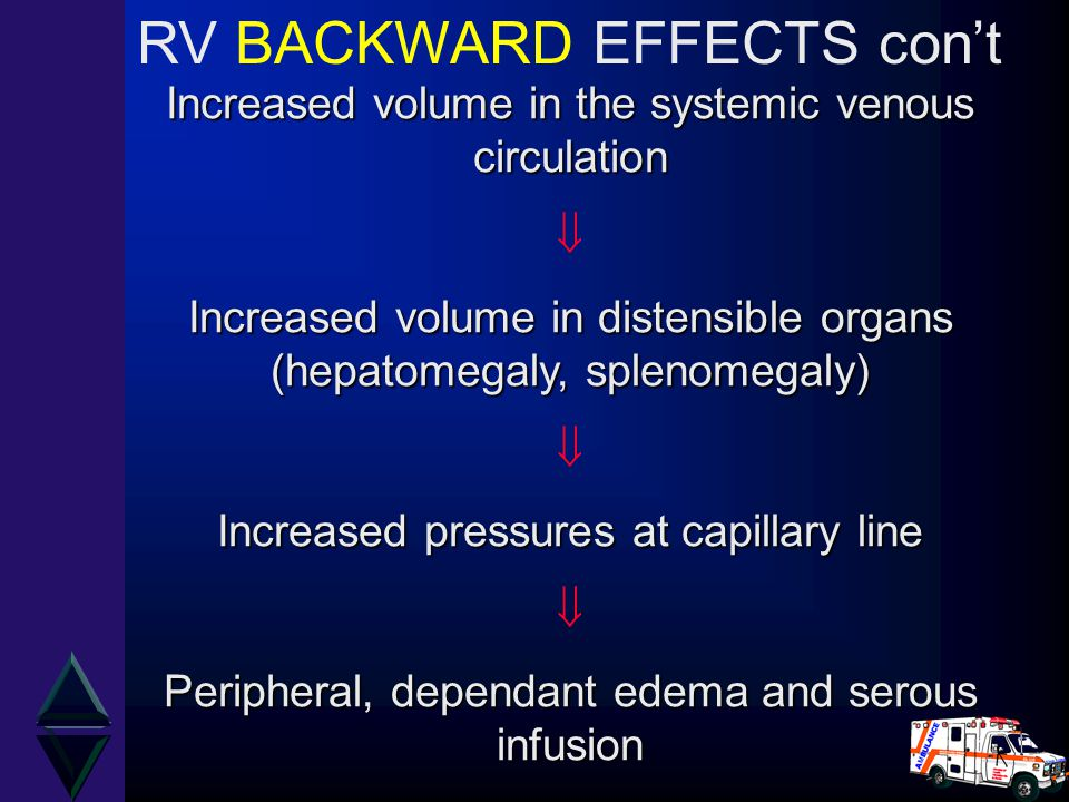 Increased volume in the systemic venous circulation  Increased volume in distensible organs (hepatomegaly, splenomegaly)  Increased pressures at cap