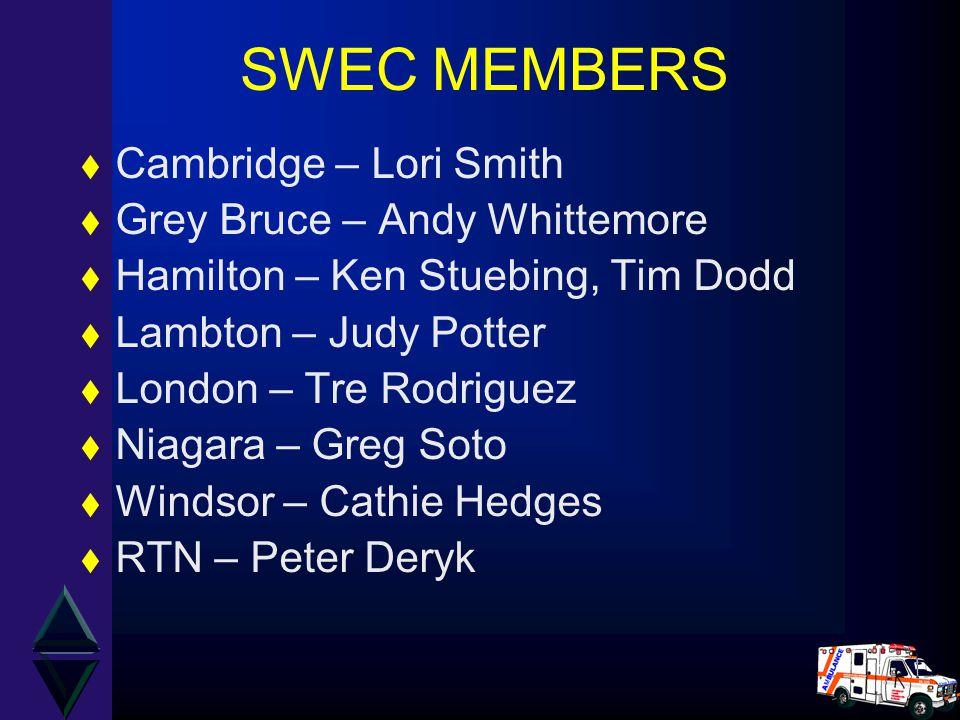 SWEC MEMBERS t Cambridge – Lori Smith t Grey Bruce – Andy Whittemore t Hamilton – Ken Stuebing, Tim Dodd t Lambton – Judy Potter t London – Tre Rodrig