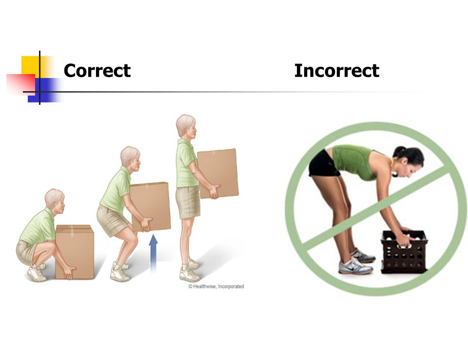 Proper Lifting Techniques Move items close to your body and use your legs when lifting an item from a low location.