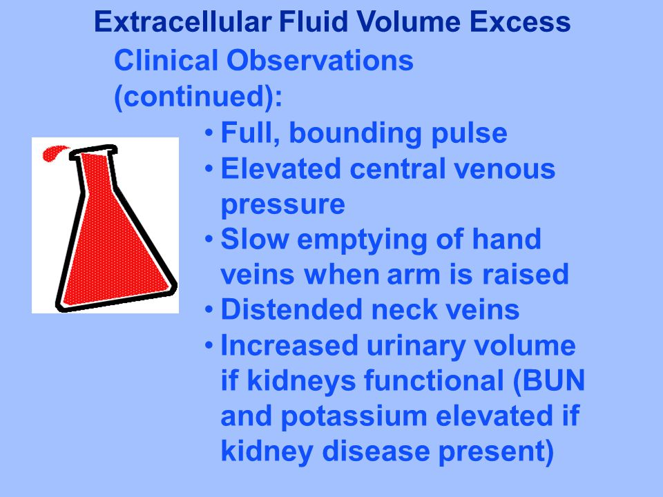 Full, bounding pulse Elevated central venous pressure Slow emptying of hand veins when arm is raised Distended neck veins Increased urinary volume if