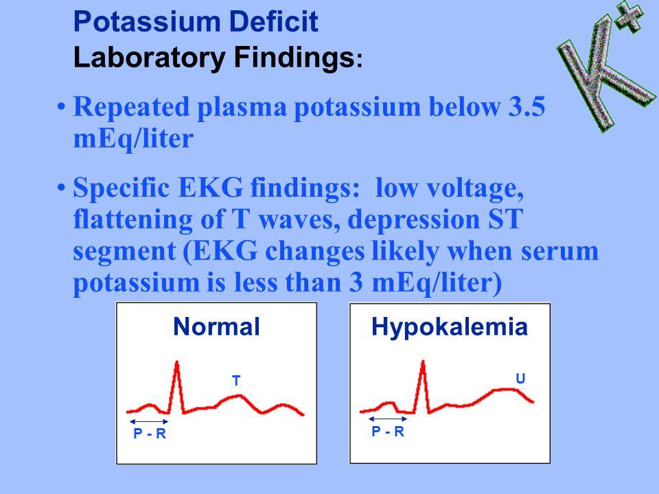 Potassium Deficit Laboratory Findings : Repeated plasma potassium below 3.5 mEq/liter Specific EKG findings: low voltage, flattening of T waves, depression ST segment (EKG changes likely when serum potassium is less than 3 mEq/liter) P - R T Normal P - R U Hypokalemia