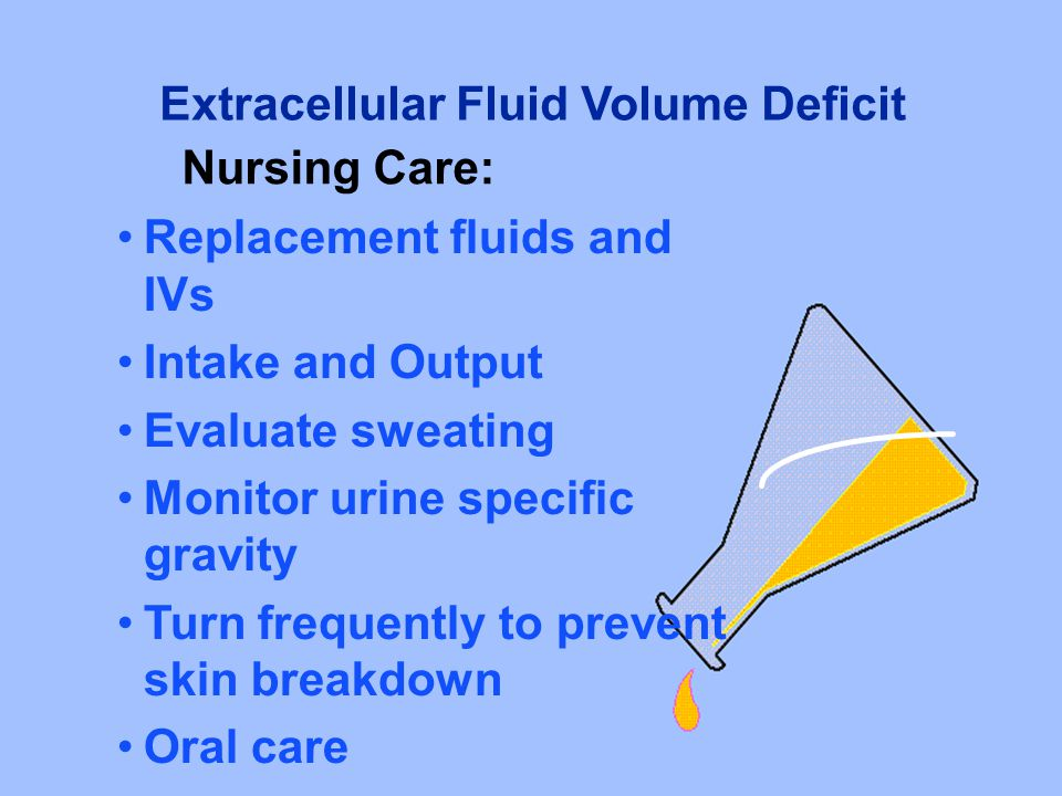 Replacement fluids and IVs Intake and Output Evaluate sweating Monitor urine specific gravity Turn frequently to prevent skin breakdown Oral care Extr