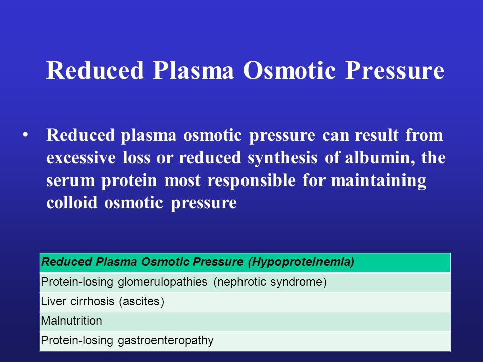 Reduced Plasma Osmotic Pressure Reduced Plasma Osmotic Pressure (Hypoproteinemia) Protein-losing glomerulopathies (nephrotic syndrome) Liver cirrhosis (ascites) Malnutrition Protein-losing gastroenteropathy Reduced plasma osmotic pressure can result from excessive loss or reduced synthesis of albumin, the serum protein most responsible for maintaining colloid osmotic pressure