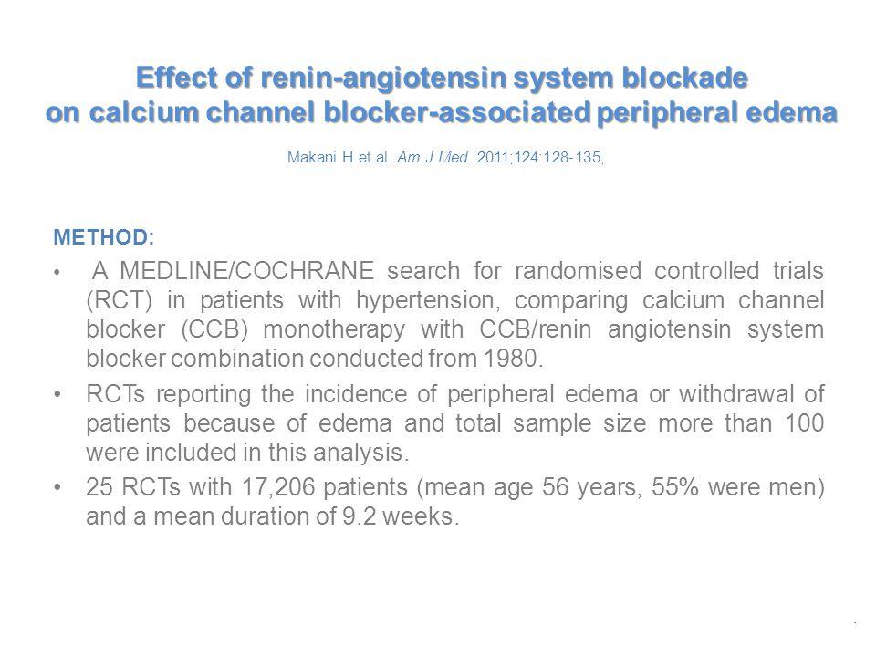 Effect of renin-angiotensin system blockade on calcium channel blocker-associated peripheral edema Effect of renin-angiotensin system blockade on calcium channel blocker-associated peripheral edema Makani H et al.