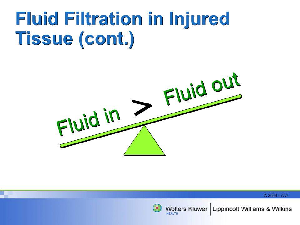 © 2008 LWW Fluid Filtration in Injured Tissue (cont.) Fluid out Fluid in > >