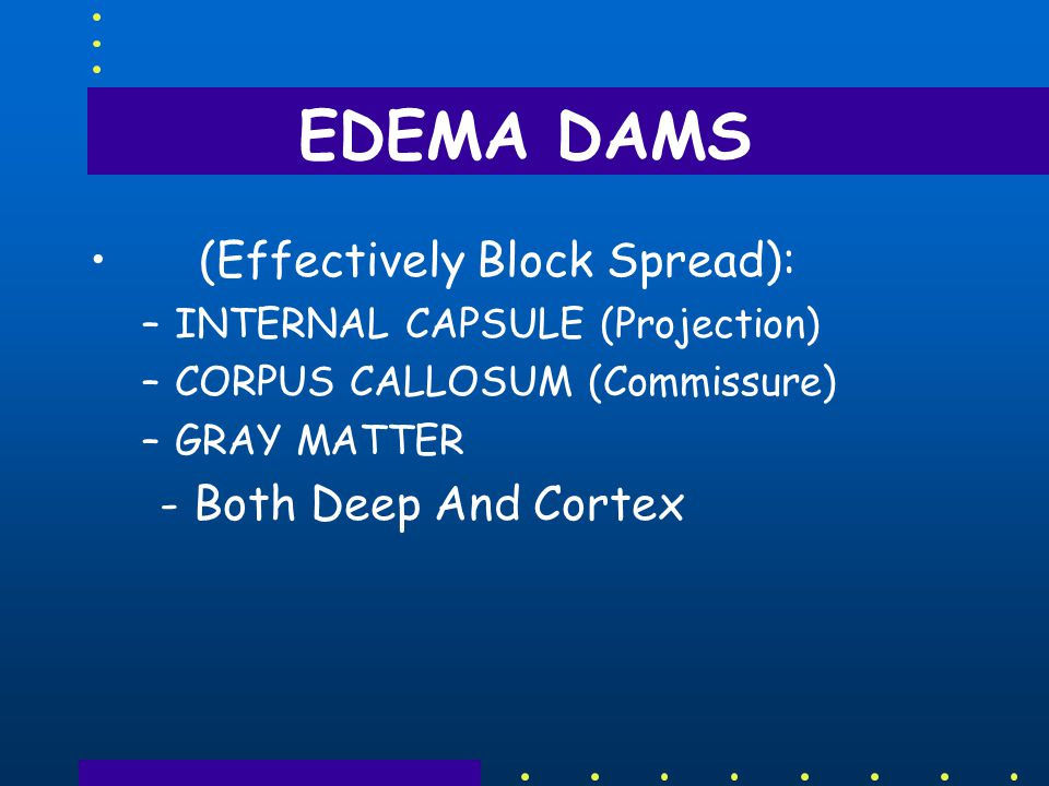 EDEMA DAMS (Effectively Block Spread): –INTERNAL CAPSULE (Projection) –CORPUS CALLOSUM (Commissure) –GRAY MATTER - Both Deep And Cortex