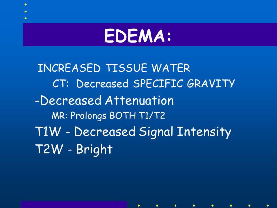 EDEMA DAMS (Effectively Block Spread): –INTERNAL CAPSULE (Projection) –CORPUS CALLOSUM (Commissure) –GRAY MATTER - Both Deep And Cortex