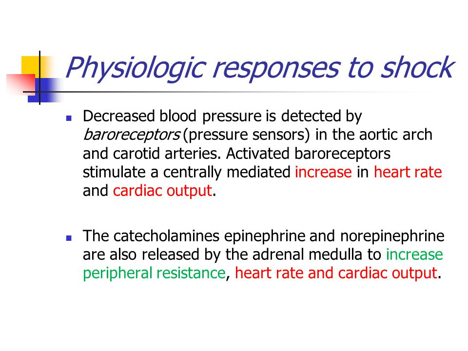 Physiologic responses to shock Decreased blood pressure is detected by baroreceptors (pressure sensors) in the aortic arch and carotid arteries.