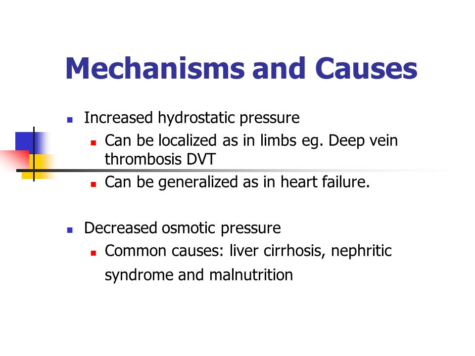 Mechanisms and Causes Increased hydrostatic pressure Can be localized as in limbs eg.