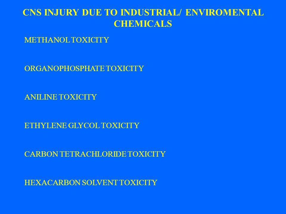 CNS INJURY DUE TO INDUSTRIAL/ ENVIROMENTAL CHEMICALS METHANOL TOXICITY ORGANOPHOSPHATE TOXICITY ANILINE TOXICITY ETHYLENE GLYCOL TOXICITY CARBON TETRA