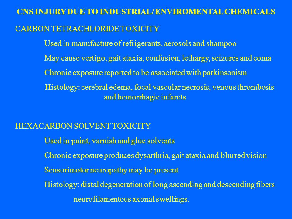 CNS INJURY DUE TO INDUSTRIAL/ ENVIROMENTAL CHEMICALS CARBON TETRACHLORIDE TOXICITY Used in manufacture of refrigerants, aerosols and shampoo May cause
