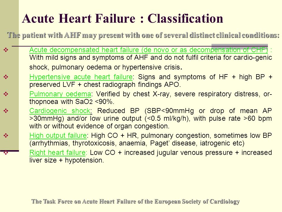 Acute Heart Failure : Classification  Acute decompensated heart failure (de novo or as decompensation of CHF) : With mild signs and symptoms of AHF and do not fulfil criteria for cardio-genic shock, pulmonary oedema or hypertensive crisis.