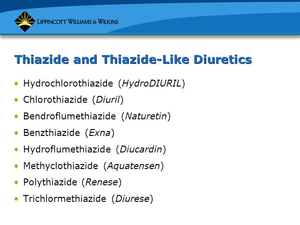 Thiazide and Thiazide-Like Diuretics Hydrochlorothiazide (HydroDIURIL) Chlorothiazide (Diuril) Bendroflumethiazide (Naturetin) Benzthiazide (Exna) Hyd