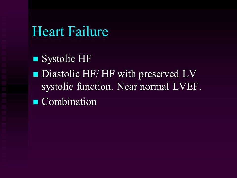 Heart Failure Systolic HF Systolic HF Diastolic HF/ HF with preserved LV systolic function.
