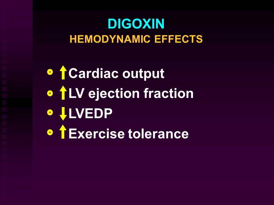 DIGOXIN HEMODYNAMIC EFFECTS Cardiac output LV  ejection fraction LVEDP Exercise  tolerance