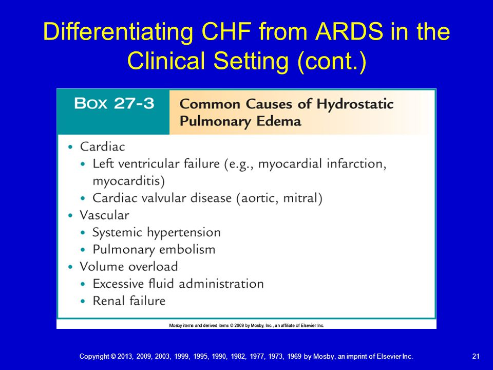 Differentiating CHF from ARDS in the Clinical Setting (cont.) 21 Copyright © 2013, 2009, 2003, 1999, 1995, 1990, 1982, 1977, 1973, 1969 by Mosby, an imprint of Elsevier Inc.