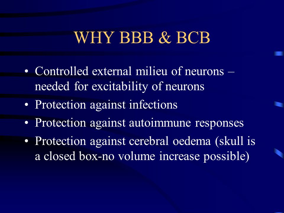 WHY BBB & BCB Controlled external milieu of neurons – needed for excitability of neurons Protection against infections Protection against autoimmune responses Protection against cerebral oedema (skull is a closed box-no volume increase possible)