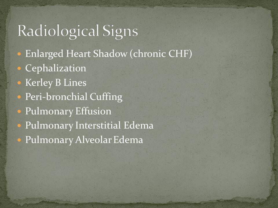 Enlarged Heart Shadow (chronic CHF) Cephalization Kerley B Lines Peri-bronchial Cuffing Pulmonary Effusion Pulmonary Interstitial Edema Pulmonary Alveolar Edema