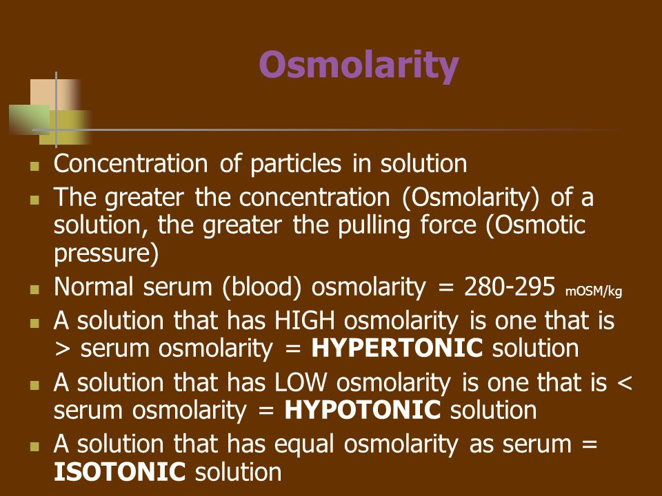 Hypertonic Fluids Hypertonic fluids have a higher concentration of particles (high osmolality) than ICF This higher osmotic pressure shifts fluid from the cells into the ECF Therefore Cells placed in a hypertonic solution will shrink