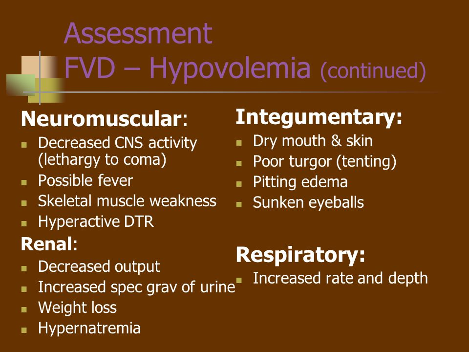 Nursing Diagnosis - FVD Deficient Fluid Volume R/T loss of GI Fluids via vomiting AEB elevated Hct, dry mucous membranes, decreased output, thirst