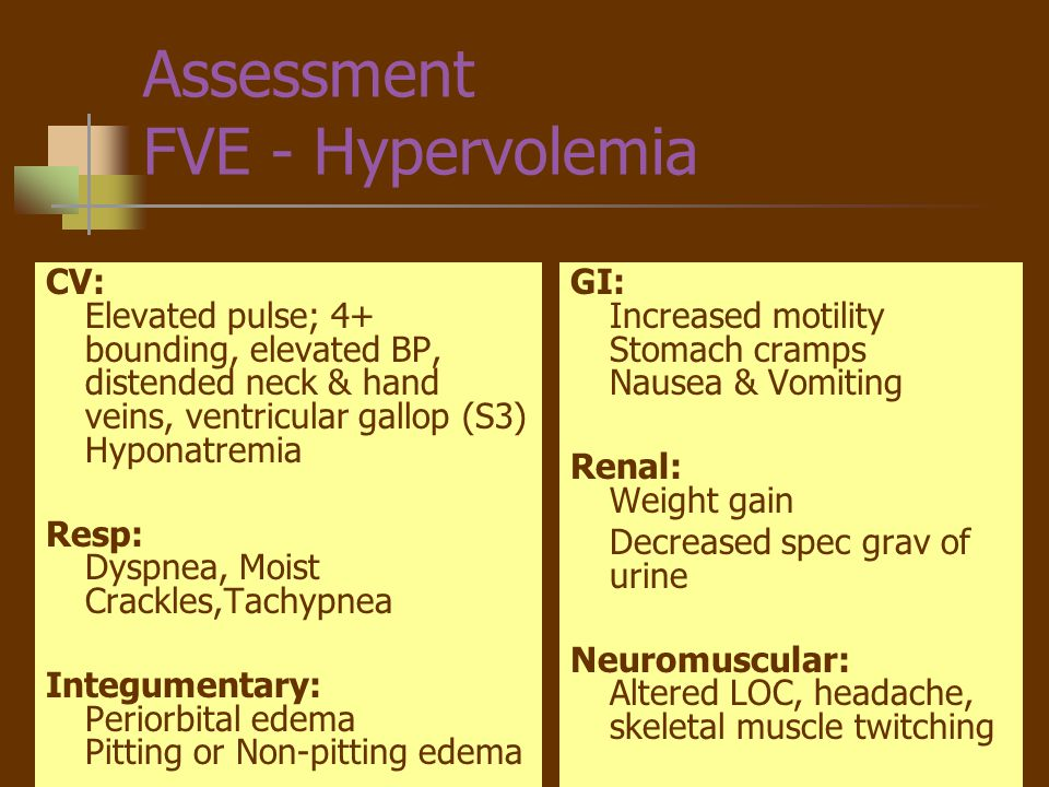 Nursing Diagnosis - FVE Fluid volume excess R/T excessive H20 intake AEB confusion, headache, muscle twitching, abdominal cramps, elevated BP and HR, hyponatremia.