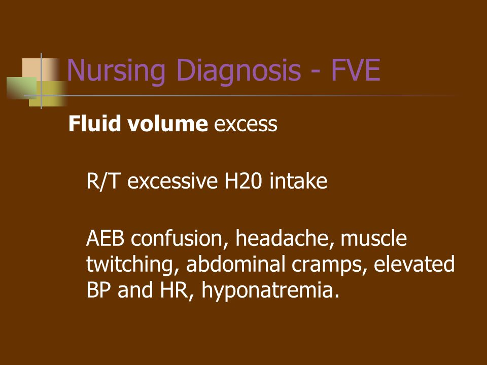 Planning - FVE Client will demonstrate fluid balance by balanced I & O measurements, Serum Na WNL, etc.