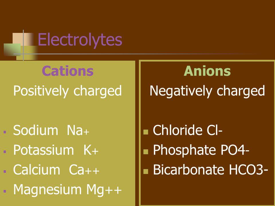 Electrolyte Functions Regulate water distribution Muscle contraction Nerve impulse transmission Blood clotting Regulate enzyme reactions (ATP) Regulate acid-base balance