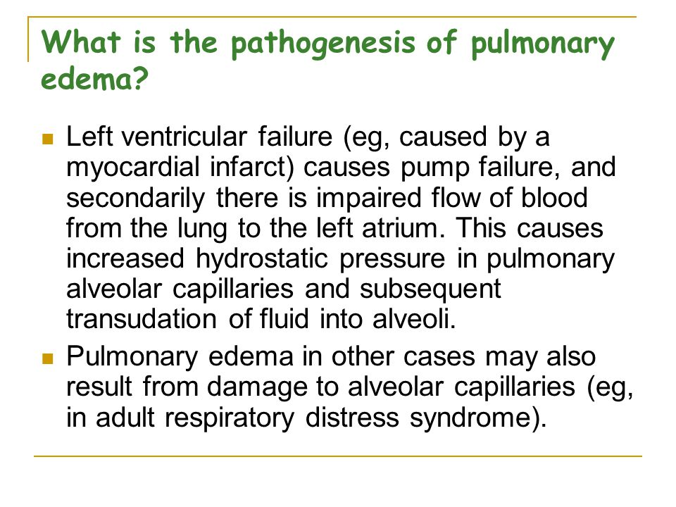 What is the pathogenesis of pulmonary edema.
