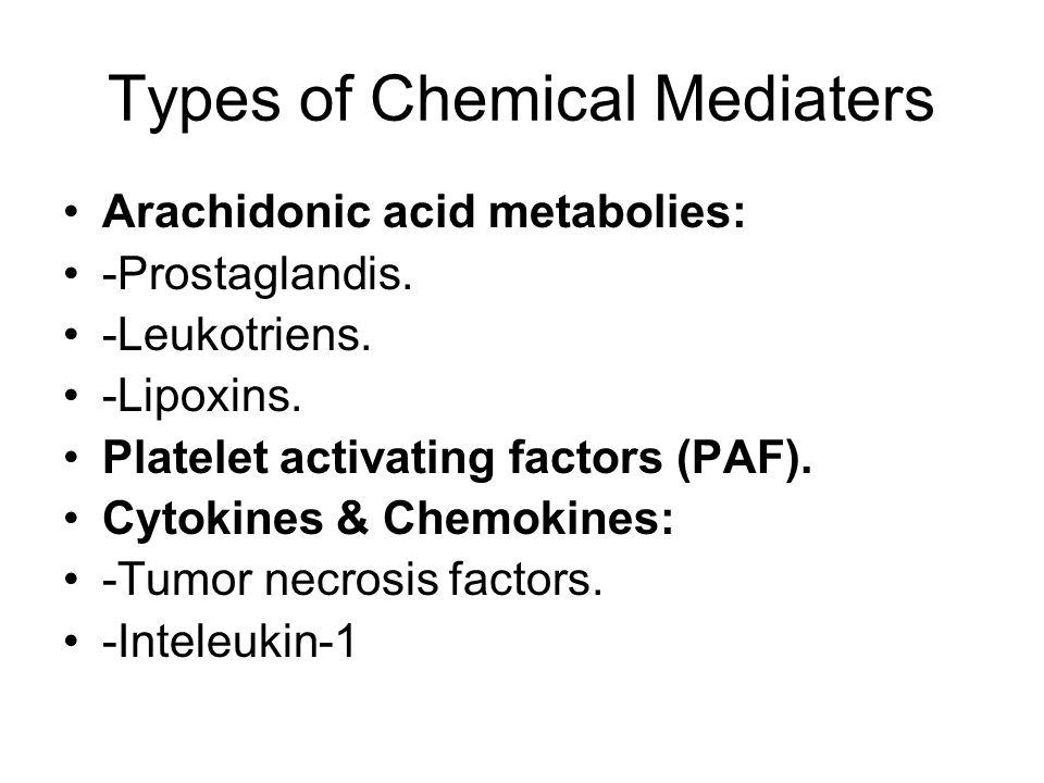 Types of Chemical Mediaters Arachidonic acid metabolies: -Prostaglandis.