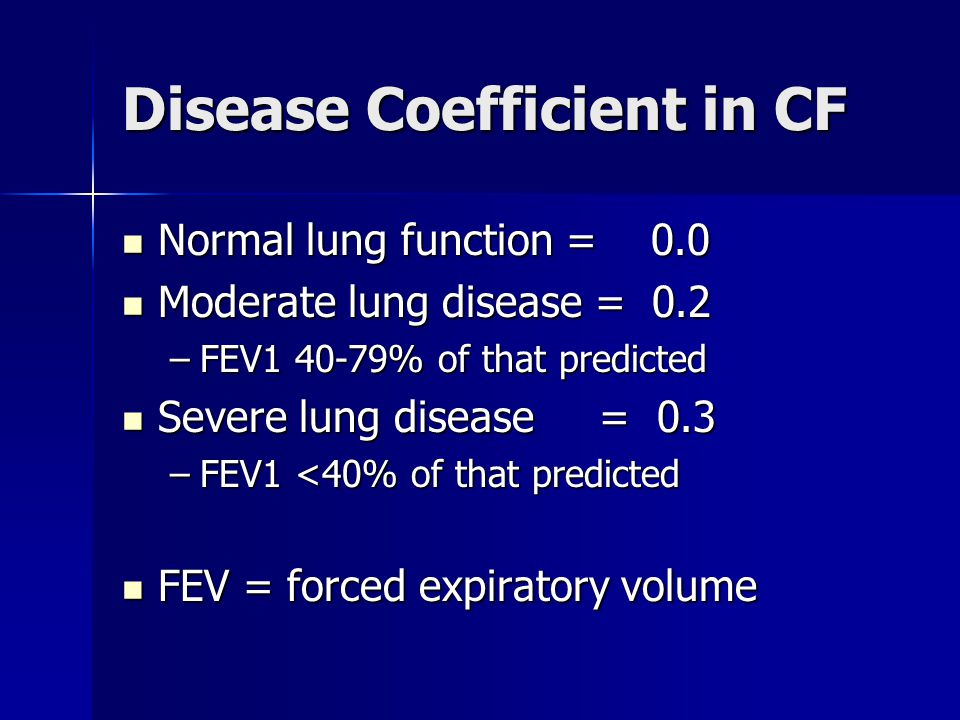 Disease Coefficient in CF Normal lung function = 0.0 Normal lung function = 0.0 Moderate lung disease = 0.2 Moderate lung disease = 0.2 –FEV1 40-79% o