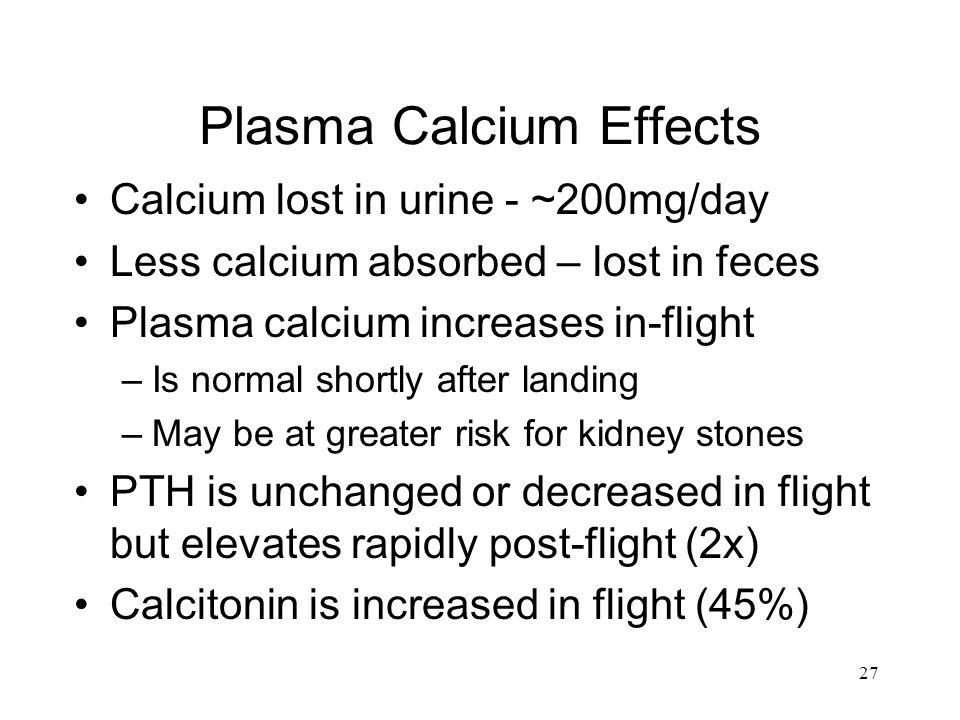 27 Plasma Calcium Effects Calcium lost in urine - ~200mg/day Less calcium absorbed – lost in feces Plasma calcium increases in-flight –Is normal short