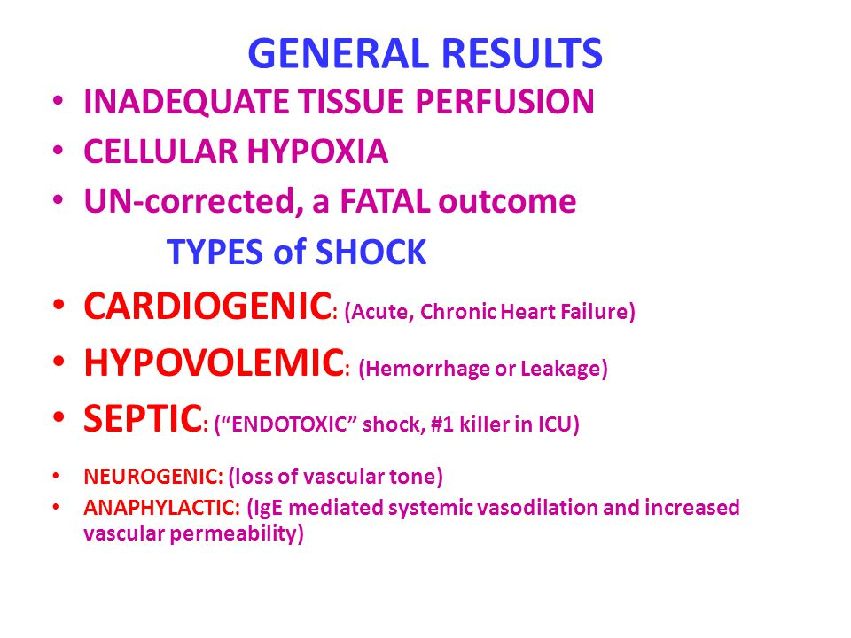 GENERAL RESULTS INADEQUATE TISSUE PERFUSION CELLULAR HYPOXIA UN-corrected, a FATAL outcome TYPES of SHOCK CARDIOGENIC : (Acute, Chronic Heart Failure)