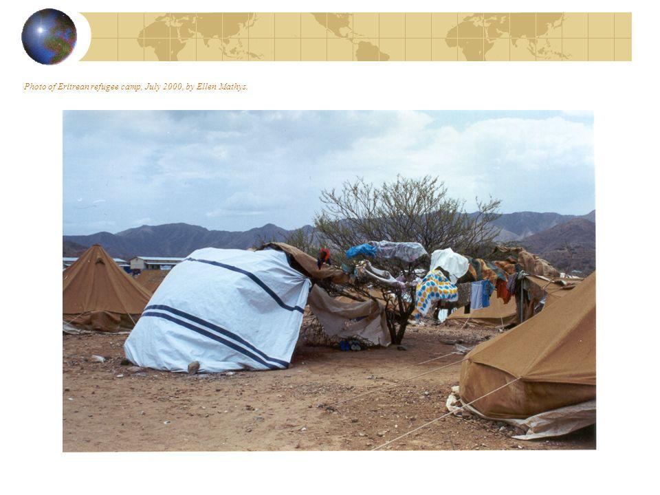 Photo of Eritrean refugee camp, July 2000, by Ellen Mathys.