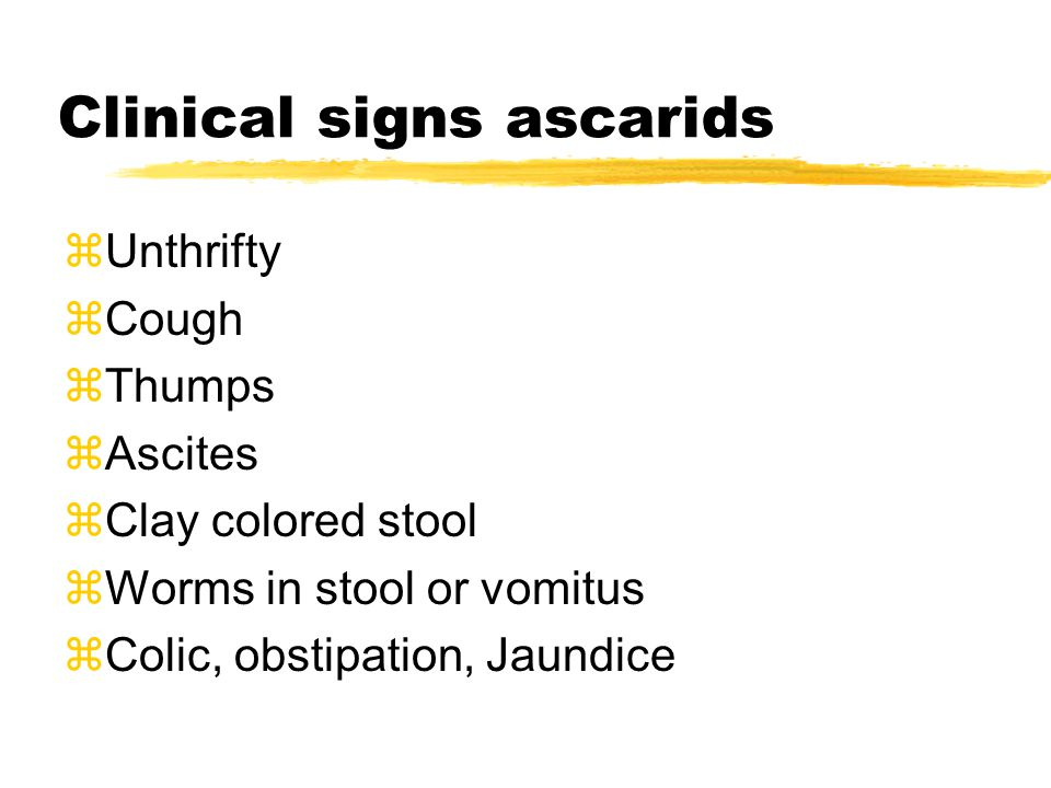 Clinical signs ascarids zUnthrifty zCough zThumps zAscites zClay colored stool zWorms in stool or vomitus zColic, obstipation, Jaundice