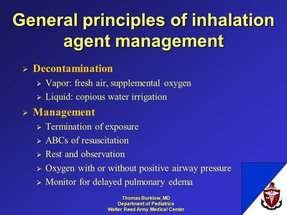 Thomas Burklow, MD Department of Pediatrics Walter Reed Army Medical Center General principles of inhalation agent management  Decontamination  Vapo