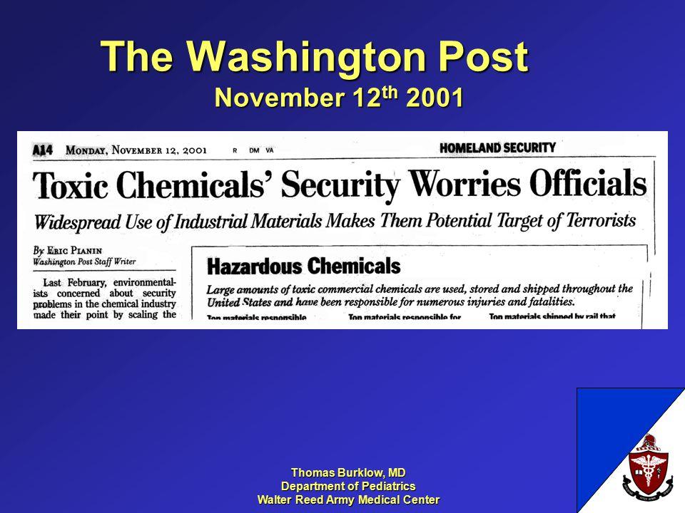 Thomas Burklow, MD Department of Pediatrics Walter Reed Army Medical Center The Washington Post November 12 th 2001